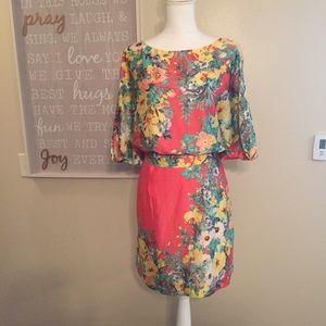 Bisou Bisou Coral Pink Floral Tie Back Dress 16